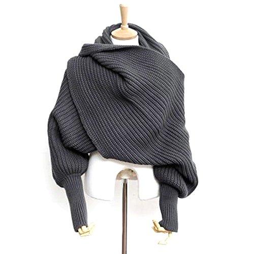 Pixonr Donne sciarpa tinta con maniche uncinetto maglia lunghi e morbidi Wrap Scialle Sciarpe