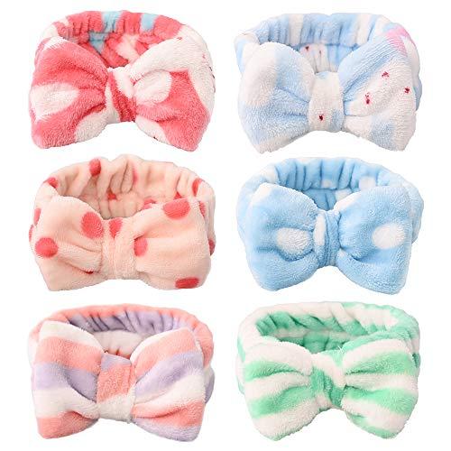 Diademas de lazo para las mujeres y niñas con rayas conejo elástico coral bandas de pelo felpa maquillaje lavado cara ducha diadema