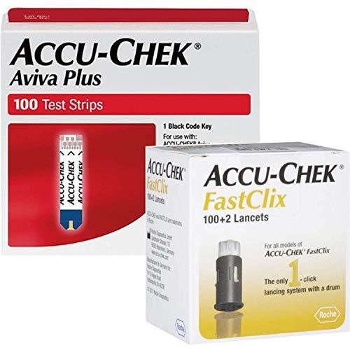 Accu-Chek Bundle - 100 Aviva Plus Test Strips and 102 Fastclix Lancets