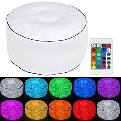 Tronje Taburete LED inflable Ø60cm Puff 120kg Cambio de Color Reposapiés para Exteriores Blanco