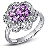 Bishilin Partner Ring Gold-Plated with Stone, Flower with Purple Round Gemstone Polish Comfort Fit Pear Silver Wedding Rings Nickel Free Eternity Bridal Rings