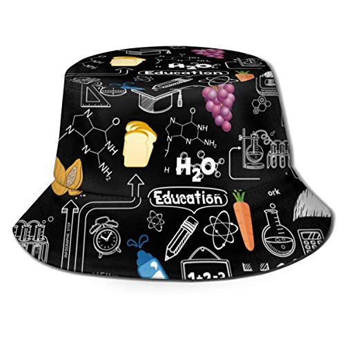 huatongxin Complex Carbohydrates Funny Food Simple 100% Cotton Cute Print Fishing Hunting Bucket Cap Breathable Fisherman's Hat Black
