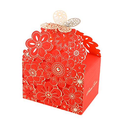 BESTOYARD 20 Stks Bruiloft Snoep Doos Bloem Vlinder Patroon Gunst Boxen Hollow Out Craft Papier Doos Craft Papier Snoep Houders Geschenkdoos Snoep Snoepjes Voor Geschenken Feest(Rood Grote Grootte)