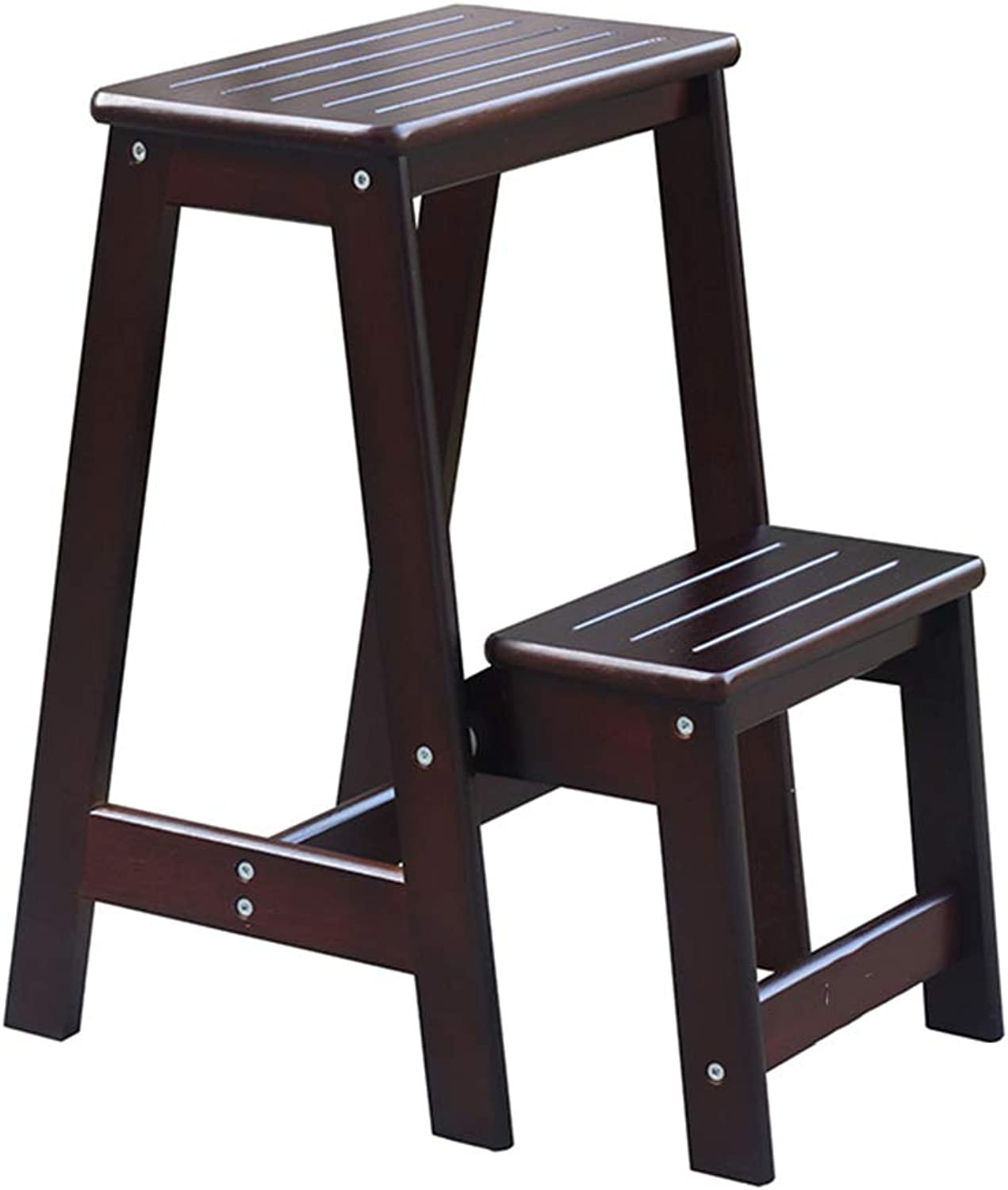 PENGFEI Folding Ladder Stools Stairs Solid Wood 2-Step Stool Portable Multifunction Ascend The Pedal, 3 colors Furniture (color   Deep Walnut color, Size   29x33.5x55CM)