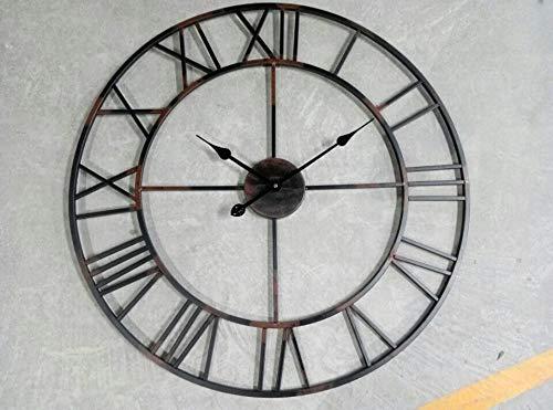 YIHENGRUI wandklok groot van ijzer industrieel smeedijzer klassieke klok digitale klokken 80X80cm Kleur: zwart.