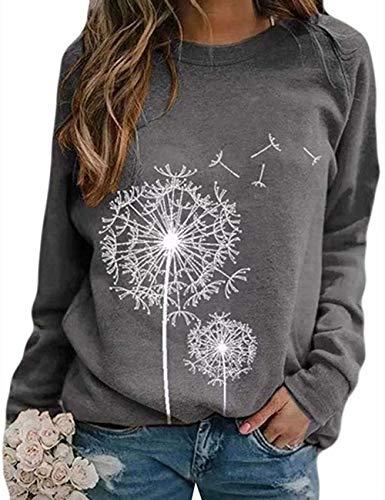 Damen Rundhals Sweatshirt Frauen Langarmshirt Bedrucktes Pullover Oberteil Tops Herbst Freizeit T-Shirt Bluse (P-Grau, L)