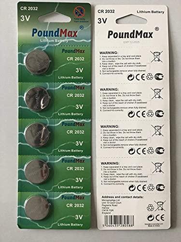 PoundMax 2032 CR2032 Lithium-Batterien, 3 V, 5 Stück