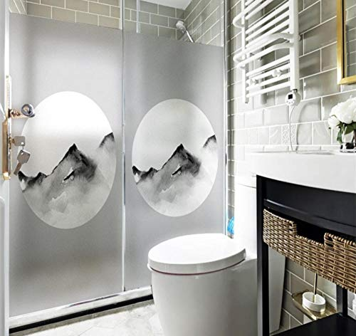 YUNZHIFU waterdichte raamfolie Chinese inkt decoratie huis mat ondoorzichtig statische elektriciteit privacy balkon bad sticker glas sticker 90x60 cm