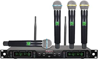 Phenyx Pro 4-Channel UHF Wireless Microphone System, Metal Built, Fixed Frequency, Up to 260ft Operation, Ideal for Events, Church, Public Address (PTU-5000)