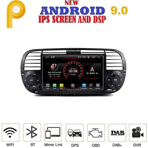 ANDROID 9.0 autoradio navigatore per Fiat 500 Fiat Abarth 500 2007-2015 GPS USB WI-FI Bluetooth Mirrorlink color Nero