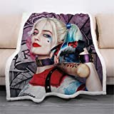 Ultra Soft 3D The Joker Blanket Quilt Microfiber Plush Sherpa Throw Blankets for Bed Harley Quinn Printed Quilt Blankets for Kids and Adults Fleece Blanket Bedding (59'' x 79'', Purple)