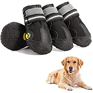 PETEK Dog Winter Snow Boots, Dog Booties with Reflective Velcro Rugged Anti-Slip Sole and Skid-Proof, Waterproof Outdoor Dog Shoes for Medium to Large Dogs
