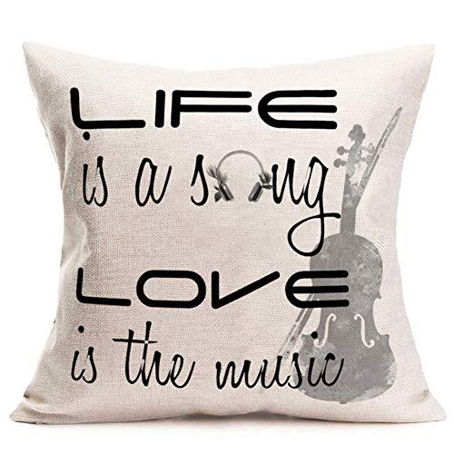 N\A Musik inspirierende Zitate Kissenbezüge Vintage Gitarre mit Leben ist EIN Lied Liebe ist die Musik Kissenbezüge Baumwolle Leinen Home Room Chair Dekor Kissenbezug Weiß Schwarz