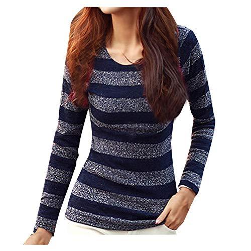 Blusa de manga larga para mujer, sexy, de manga larga, a rayas, cuello redondo, informal, para mujer, para regalo de Pascua, San Patricio, color azul