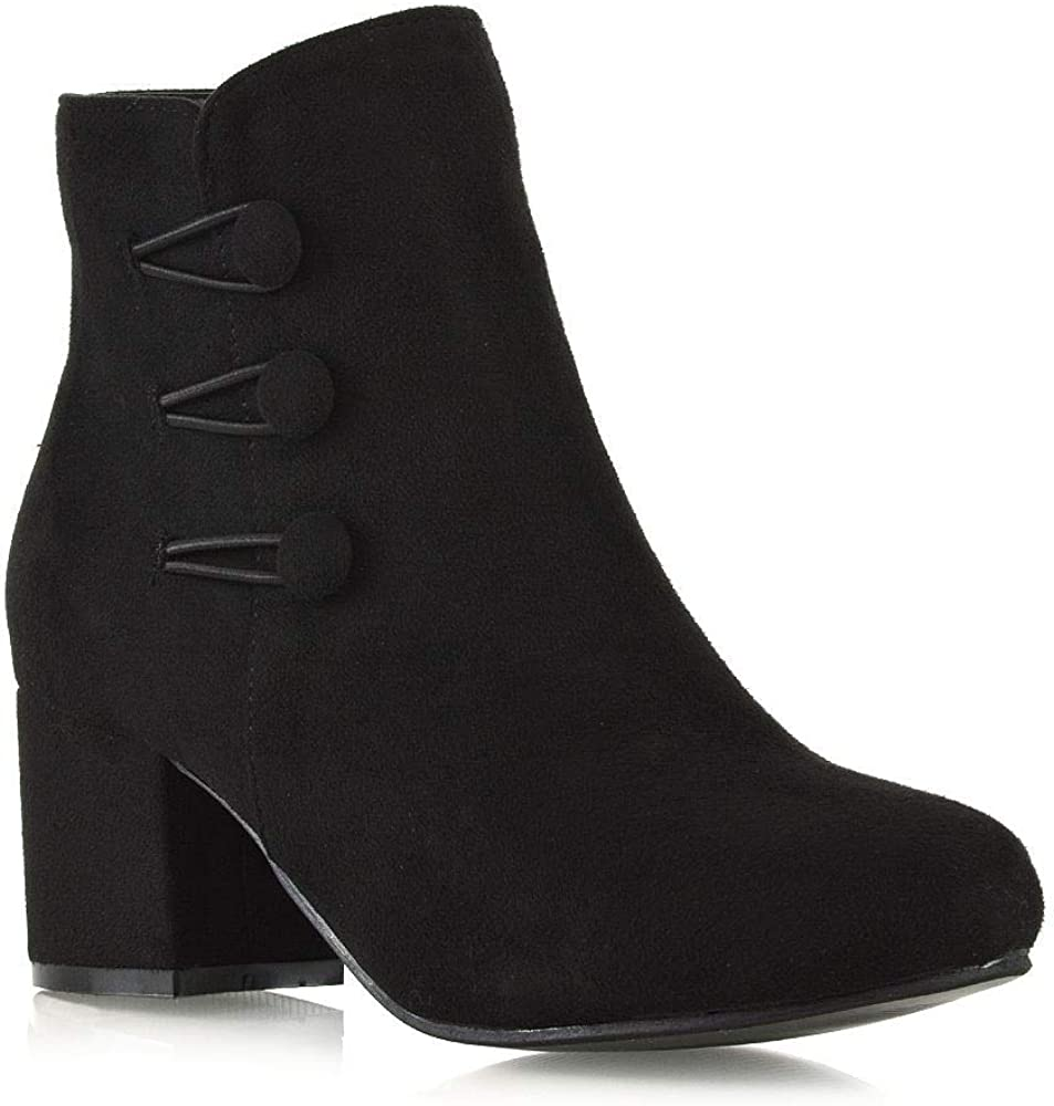 ESSEX GLAM Womens Branded goods Ankle Boots Block U Outstanding Zippier Button Heel Ladies