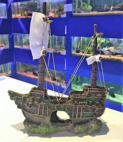 Mezzaluna Gifts - Adorno para Acuario, diseño de Barco Pirata con Velas de Tela Blanca