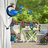 XunHe Wind Chimes Peacock Sculpture Design Hanging Metal Wind Chime for Home Yard Balcony Decoration Hanging Pendant Outdoor Ornament (Blue)