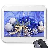 rutschfeste Gummi-Mausmatte Rechteckige Mauspads für Computer Laptop (20x24cm) -Blaue Weihnachtskerzen und Ornamente Mauspad