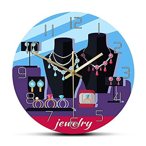 Orologio da parete Negozio di gioielli Vetrina Orologio da parete progettato Accessori da donna di lusso Decorativo Orologio da parete moda femminile per gioielli Studio