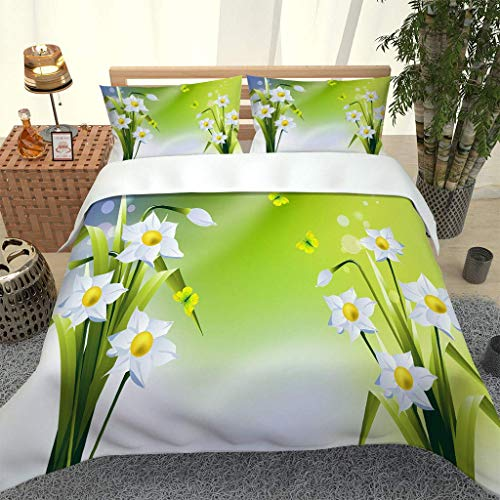 LMHWW Bedding Set,Duvet Covers Double Size Green Plant Flower Butterfly 3D Printing Ultra Soft Microfibre Duvet Cover Quilt Bedding Set With Zipper Closure (200X200Cm + 2 Pillowcases 50X75Cm)