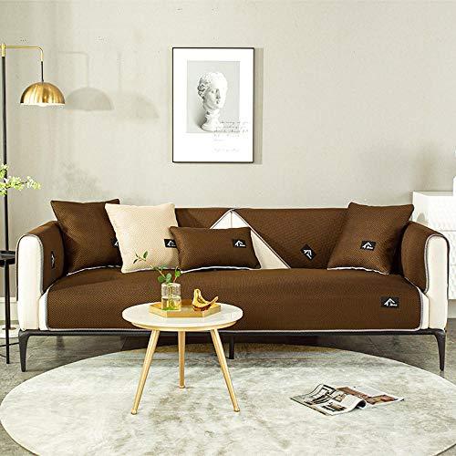 Cxypeng Couchbezug Sofaschoner Sofa bezug,Hochwertiges 4-Jahreszeiten-Ledersofakissen,rutschfeste Schutzhülle-Kaffee_60 * 60CM,sofaschoner ecksofa