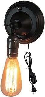 KEISL E26 Aplique de pared con enchufe Luz Vintage Industrial Lámpara de Pared Con cable de conexión de 1,8 m, ventosa 14 cm de diámetro. (negro)