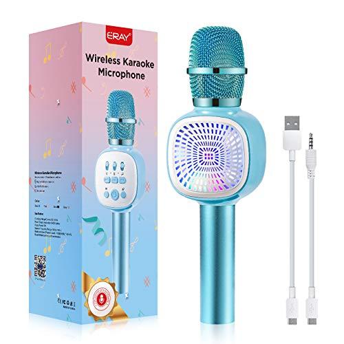 ERAY Micrófono Karaoke Bluetooth para Niños, Micrófono Inalámbrico con LED Luces, 4 Voces Ajustables, Soporta TF Tarjeta/USB Disco/ 3.5mm AUX Cable, Compatible con Smartphone, Color Azul (Modelo K69)