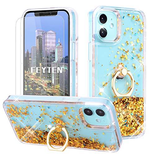 Feyten Kompatibel mit iPhone 12 Mini Hülle (5,4 Zoll) mit Displayschutz [2 Stück],Glitzer Flüssig Treibsand Fließend Glitter Quicksand Schutzhülle Handyhülle mit Ring 360 Grad Ständer (Gold)