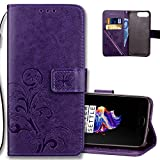 OnePlus 5 Wallet Case Leather COTDINFORCA Premium PU Embossed Design Magnetic Closure Protective Cover with Card Slots for OnePlus 5 A5000 (5.5' inch). Luck Clover Purple