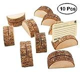 Healifty - Supporto per segnaposto in legno, forma rotonda, 10 pezzi