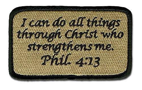 BASTION Morale Patches (Phil. 4:13, Tan) | 3D Embroidered Patches with Hook & Loop Fastener Backing | Well-Made Clean Stitching | Christian Patches Ideal for Tactical Bag, Hats & Vest