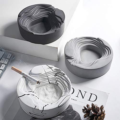 Preisvergleich Produktbild Lpinvin Aschenbecher Creative-Zement Marmor Aschenbecher Heim Wohnzimmer-Dekoration Büro Esszimmer,  Zement Aschenbecher Zigarette Aschenbecher (Farbe : Grau,  Size : 12X12X3.5cm)