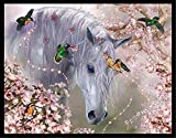 JRGGPO Diamante 5D Animal Bordado Diamante Tridimensional Conjunto Completo decoración DIY Diamante Pintura Caballo Blanco pájaro Cristal cruz-30x45 cm