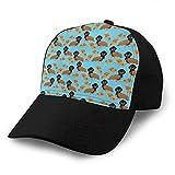Zhgrong Dachshund Wiener Pizza Diseño Azul Gorra de béisbol Hombres Mujeres Clásico Ajustable Liso Sombrero Cap