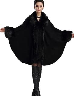 Women's Wool Scarf Shawl Cape Coat with Luxury Faux Fur Collar