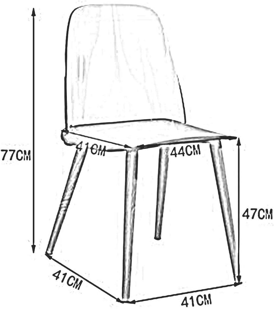DALL Chaise De Salle À Manger Mode Créatif Chaise De Dossier Transparente Siège en Plastique Armature en Métal Chaise De Table 41x41x77cm (Color : Red 2) Yellow
