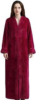 YiyiLai Women Full Length Night Gown Winter Dressing Pajamas Zip V Neck Bathrobe