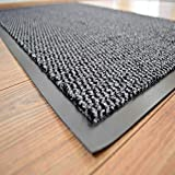 BLADO Barrier Mat Grey Non Slip Door Mat Rubber Mats Floor Mats Kitchen Rugs Washable Light Weight Rubber Heavy Duty (40 cm x 60 cm)