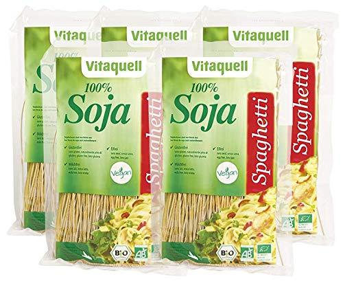 5 x Vitaquell Soja Spaghetti Bio, 200 g Low Carb Protein Sportler-Nudeln I eiweißreich + glutenfrei