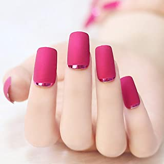 Sethexy 24Pcs Matte Square False Nails Deep Pink Metal Full Cover Acrylic Fake Nails for Women and Girls