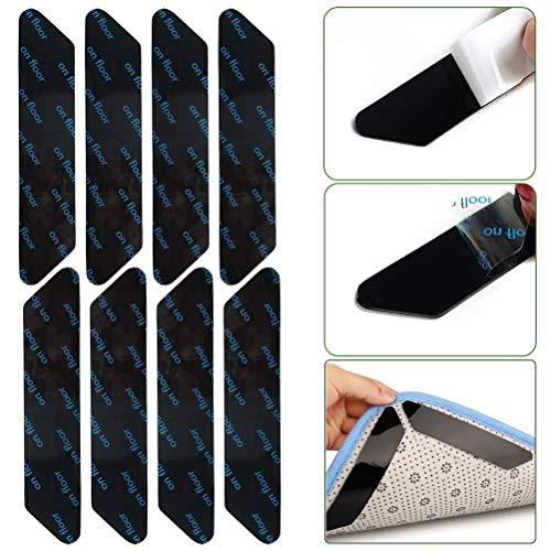 BaiJ Teppichgreifer,8er Pack Antirutschmatte für Teppich Anti-Rutsch-Teppichgriffe Antirutschmatte Aufkleber Teppichunterlage Teppichstopper für Holzböden Teppiche Schwarz 130 * 25mm