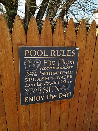 "Holzschild ""No Brands Gift Pool Rules Splash Smile Swim Play Sun"", 45,7 x 45,7 cm, Marineblau"