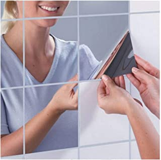 HHoo88 9Pcs Set Soft Mirror Sticker Square Mirror Tile Self-Adhesive Wall Sticker Home Bathroom Decor Flexible Mirror Sheets Full Body Mirror Wall Non Glass Cuttable Plastic Sheet