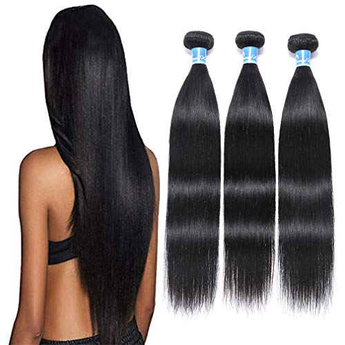 10A Peruvian Virgin Straight Human Hair 3 Bundles (16' 18' 20',300g,1B) 100% Unprocessed Peruvian Virgin Straight Hair Weave Bundles Remy Peruvian Straight Human Hair Extensions