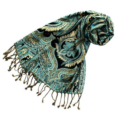 Lorenzo Cana eleganter Marken Schal Schaltuch Naturfaser mit opulenten Paisley Muster in harmonischen Farben mit Fransen 35 x 160 cm