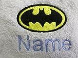 EFY Albornoz para adultos con el logotipo de Batman y el nombre de tu elección en color blanco, talla M, L, XL o XXL (XX grandes)