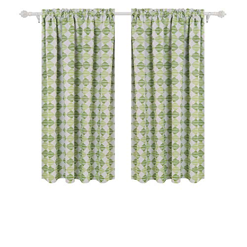Deconovo Rod Pocket Blackout Curtains Printed Yarn Ball Pattern Thermal Insulated Window Curtains for Kids Room 52 by 63 Inch Green 2 Panels