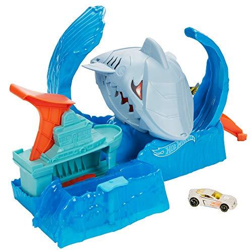 Hot Wheels City Color Shifter Robot Requin en Folie, coffret de jeu avec voiture qui change de couleur, jouet pour enfant, GJL12