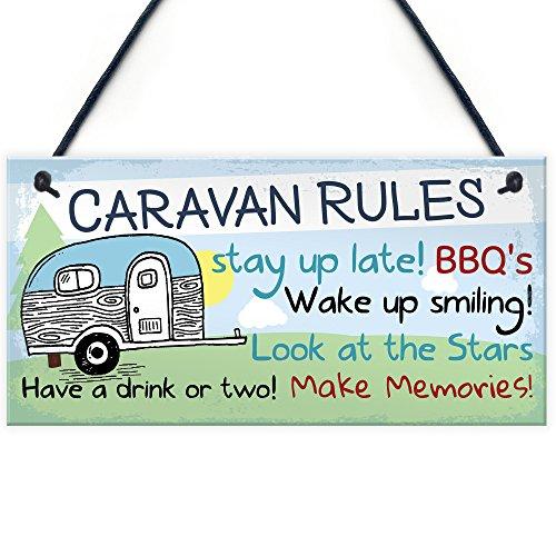 RED OCEAN Caravan Rules Novelty Hanging Plaque Campervan Outdoor Garden BBQ Sign Retirement Friend Gift