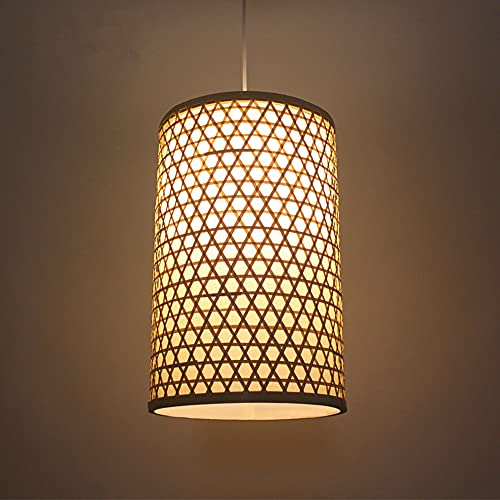 SHUANF Iluminación colgante de cilindro de una sola cabeza Lámpara colgante de estilo japonés en madera, lámpara de techo con linterna de bambú con cordón ajustable para Pasillo Pasillo Comedor Restau